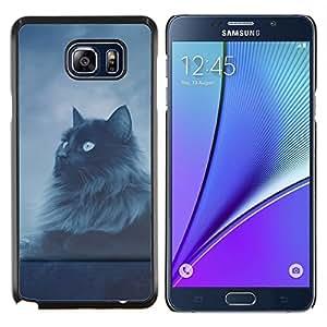 EJOOY---Cubierta de la caja de protección para la piel dura ** Samsung Galaxy Note 5 5th N9200 ** --Gato de pelo largo Gris Negro Ojos azules del cielo nocturno