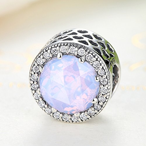 BAMOER Bead and Sterling Silver Charm For Teen Girl Blue Sky Radiant Hearts with Zirconia for Her by BAMOER (Image #3)'
