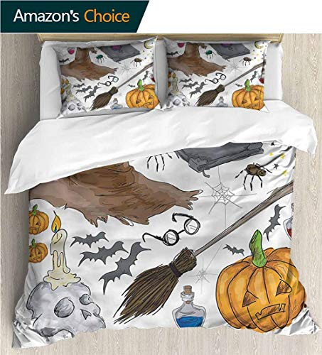 VROSELV-HOME Kids Quilt 3 Piece Bedding Set,Box Stitched,Soft,Breathable,Hypoallergenic,Fade Resistant Bedding Sets,1 Duvet Cover,2 Pillowcase-Halloween Pumpkin Skull (104