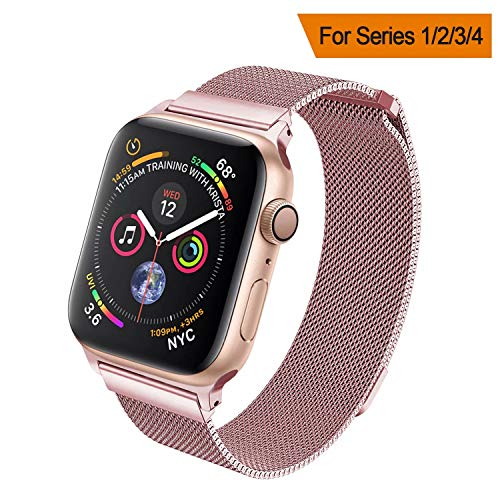 HILIMNY Compatible for Apple Watch Band 38mm 40mm 42mm 44mm, Stainless Steel Mesh Milanese Sport Wristband Loop with Adjustable Magnet Clasp for iWatch Series 1/2/3/4,Rose Pink