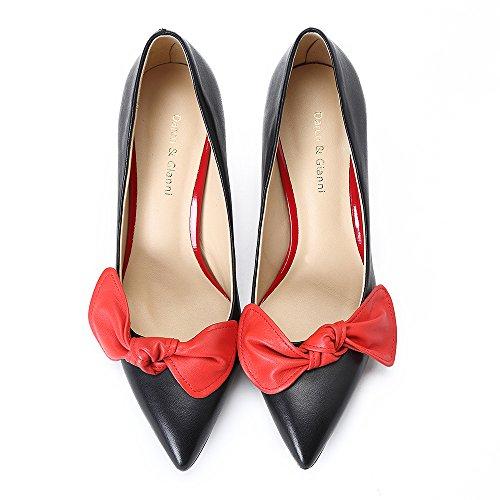 Darco Gianni Damen Pump Schuhe Mit Absatz Womens High Heels Shoes Spitze Schwarz Leder For Hochzeit Party Abend Red Tie