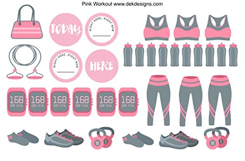 Pink Workout, Planner Calendar Stickers. 2 sheets on matte removable.
