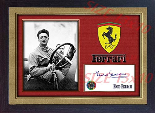 - S&E DESING Enzo Ferrari Photo Signed Autograph Formula1 Framed Printed Without Mount