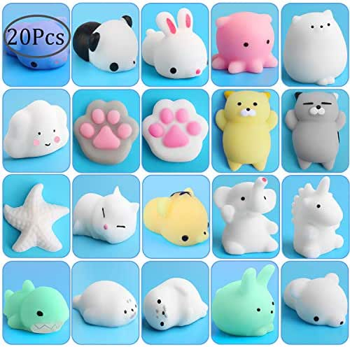 Outee Squishies Animal Toys Stress, 20 Pcs Mochi Squishies Stress Relief Toy Mochi Animals Relief Stress Cats Squishies Stress Toys Mochi Squeeze Animal Kawaii Squishies Cat Kawaii Toys Squishies