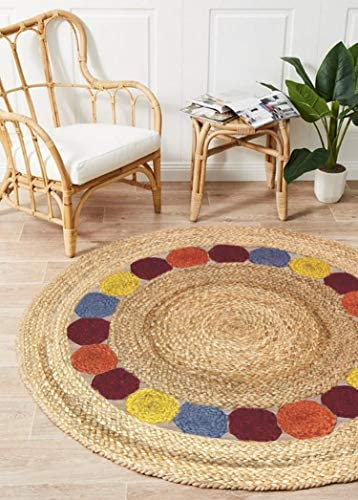Braided Jute Reversible Round Area Rug- Rustic Vintage Natural Rug for Entryway Living Room Bedroom 4 Feet Round- Multicolor