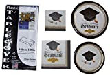 Graduation Party Pack for 16 - Bundle Includes Dinner Plates, Cake Plates, Tablecover with Scatter, Napkins in 2 Sizes and Cutlery in a Classic Black and Gold Design featuring Cap and Diploma