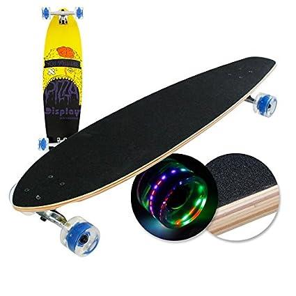 """Longboard skate con ruedas LED 41 """"104x25x12cm con ABEC-9 rodamientos de bolas"""