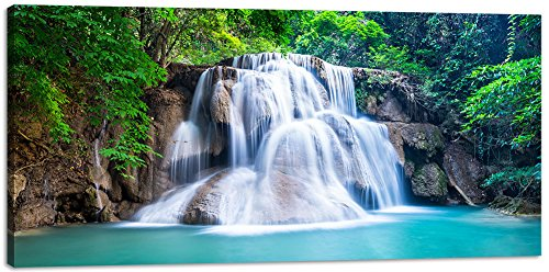 Wall Art Decor Canvas Print Picture Painting for Living Room Large Landscape Nature Wildlife Waterfall Green Tree Home Bedroom Decoration Modern Framed Artwork 20x40in