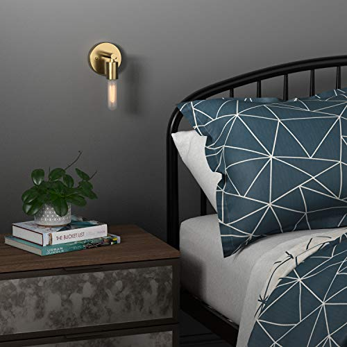 Rivet Modern Wall Sconce with Bulb, 9.13''H, Satin Brass by Rivet (Image #2)