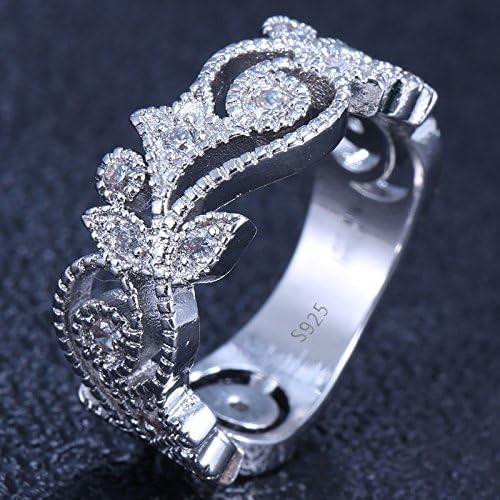 Women Fashion 925 Silver White Topaz Jewelry Wedding Engagement Ring Size6-10
