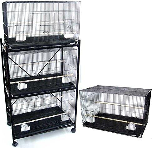 Four Medium Bird Cage with 2 Feeder Doors, Black