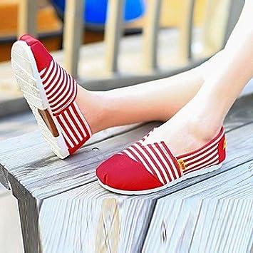 FAGL zapatos de las mujeres de confort punta redonda mocasines de lona talón plano de los