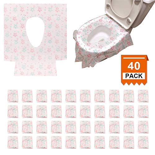 [40 Packs] Disposable Toilet Seat Covers Extra Large Size Potty Seat Cover Perfect for Adults Toddlers and Kids Potty Training with Individually Wrapped Home Travel Use (Star)