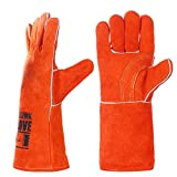 Image of QeeLink Cotton Lined and Kevlar Stitching Leather Welding Gloves, 14-Inch, Orange