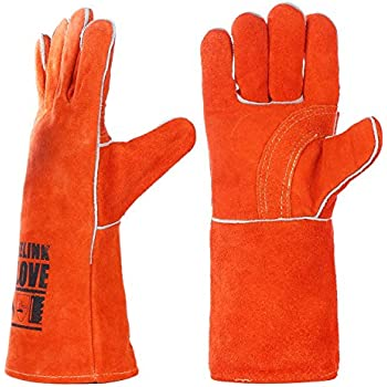QeeLink Heat Resistant Welding Gloves - Cotton Lined and Kevlar Stitching - 2 Colors and 2 Sizes, 14 Inch