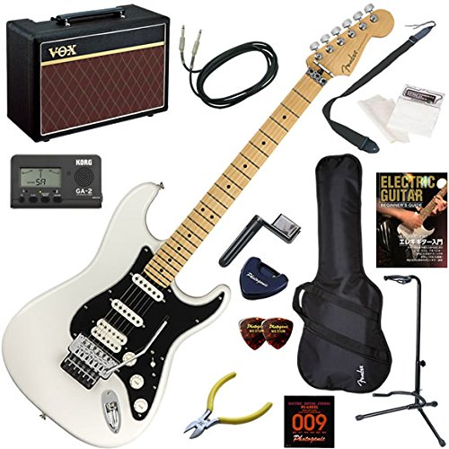 FENDER エレキギター 初心者 入門 メキシコ製 Floyd Roseを搭載したストラトキャスター。HSS構成。 人気のVOX Pathfinder10が入った本格14点セット Player Stratocaster Floyd Rose HSS/PWT/M(ポラールホワイト/メイプル指板)  PWT/M(ポラールホワイト/メイプル指板) B07FL9KZQY