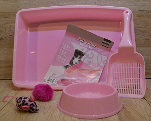 Karlie Kitty Cat Litter Tray with Bowl and Spoon Starter Set Pet Toy, Pink