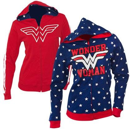 (Wonder Woman Reversible Juniors Zip Up Hoody XL)
