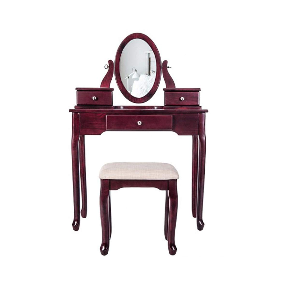 TONGBOSHI Dressing Table with Clamshell Mirror Dressing Table and Cushion Bench - 2 PC Contemporary Mirror Dressers with Table Top and Detachable Drawers, Brown (Color : Brown)