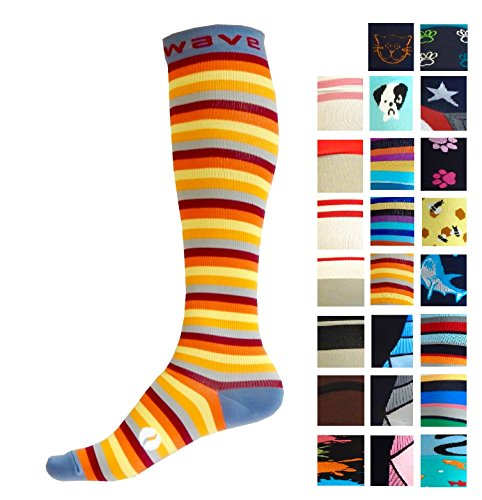 Compression Socks (1 pair) for Women & Men by Wave (Sunny Stripes, L-XL)