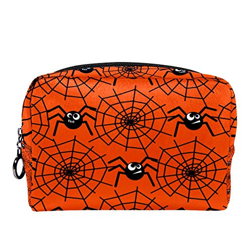 MAPOLO Halloween Spiders And Spider Webs Makeup Bag Toiletry Bag for Women Skincare Cosmetic Handy Pouch Zipper Handbag