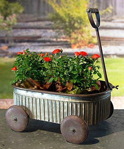 VIP Home & Garden Galvanized Metal Wagon Shaped Garden Planter Container - Vintage Outdoor Decor