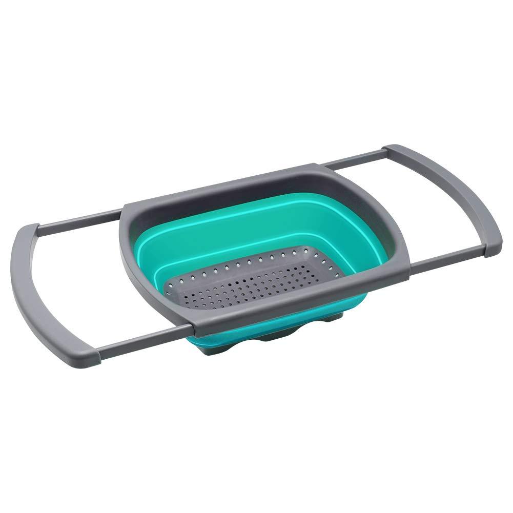QiMH Colander Collapsible, Colander Strainer Over The Sink Vegtable/Fruit Colanders Strainers Extendable Handles, Folding Strainer Kitchen,6 Quart(Malachite Green)