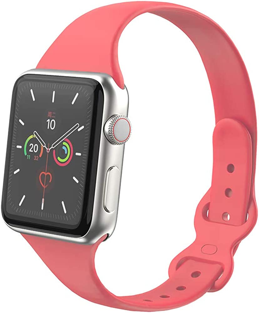 STG Sport Band Compatible with Apple Watch 38mm 40mm 42mm 44mm, Soft Silicone Slim Thin Narrow Replacement Strap Compatible for iWatch SE Series 6/5/4/3/2/1