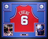 Julius Dr. J Erving Autographed Red 76ers Jersey - Beautifully Matted and Framed - Hand Signed By Julius Dr. J Erving and Certified Authentic by PSA COA - Includes Certificate of Authenticity