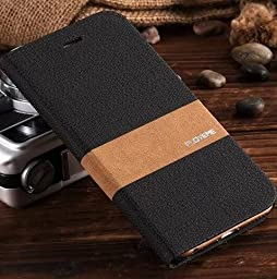 iPhone 6Splus Case, Aroko [Top-Notch Series] Premium Linen Wallet Case Protective Cover for Apple iPhone 6Plus/6SPlus Case (6plus/6sPlus 5.5inch, Black)