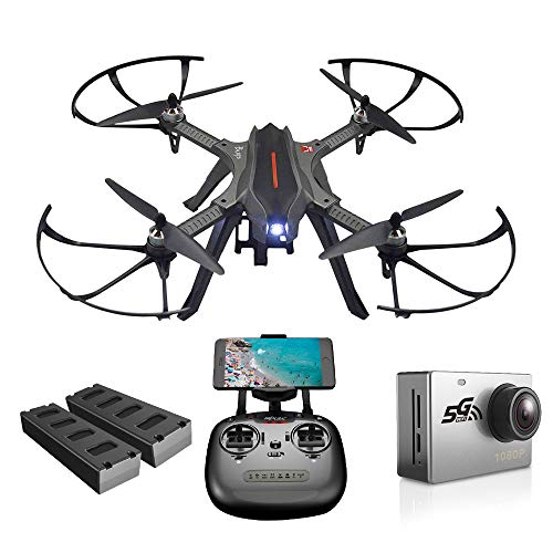 ElementDigital Drone with Camera MJX Bugs B3H 2.4G 6-Axis Gyro App Operation FPV Drone Altitude Hold Brushless Motor, Bonus Battery, FPV Quadcopter with 5G WiFi 1080P (MJX B3H+Sport Camera C6000)