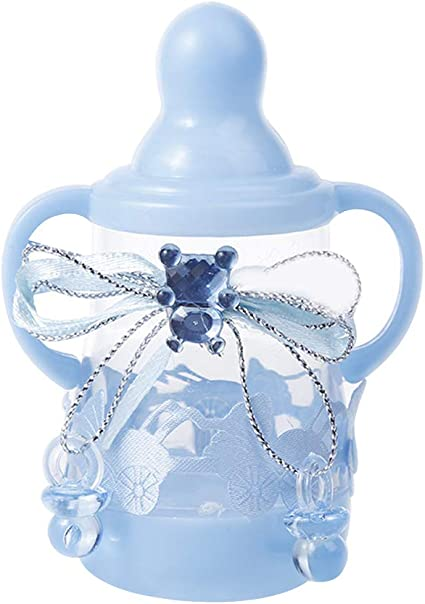 12 botellas de plástico para bebés, mini botella, caja de regalo para niños y niñas, bautizo o fiesta de cumpleaños, color azul 3.5 x 1.8 inch: Amazon.es: Oficina y papelería