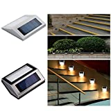 Outdoor Wall Stair Lamp,INorton Stainless Steel Pathway Lamp,Household Solar Energy Outdoor Waterproof Garden Light(Warm White)