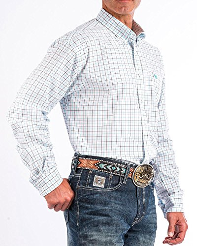 Cinch Men's White Plain Weave Plaid Short Sleeve Shirt White X-Large (Cinch Mens)