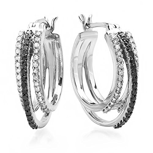 Dazzlingrock Collection 0.75 Carat ctw Black White Round Diamond Ladies Hoop Earrings 3 4 CT, Sterling Silver