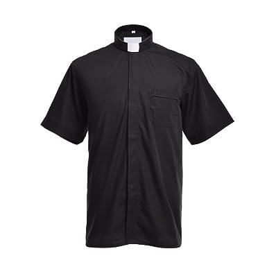 BLESSUME Klerus Hemd mit Kragen Tab Kurzarm Hemd Priester Hemd mit Tab-Kragen  Schwarz Unisex  Amazon.de  Bekleidung 690b89ac13