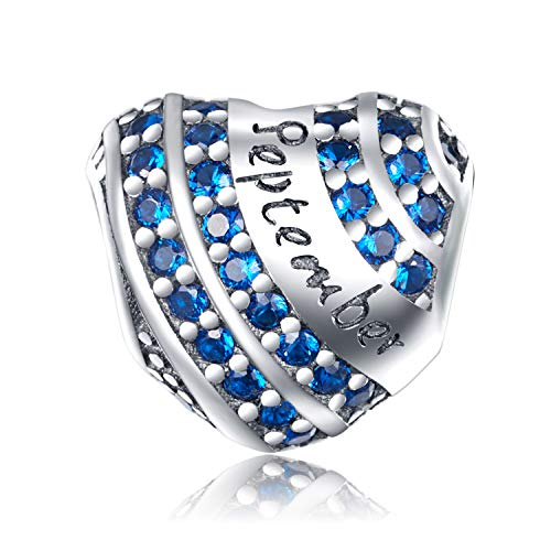 - XOYOYZU Birthstone Charm for Pandora Charms Bracelet 925 Sterling Silver Bead Openwork Birthday Charms for Bracelet and Necklace (September)