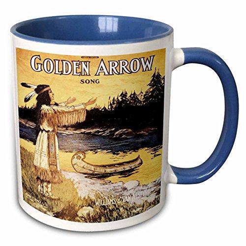 3dRose BLN Vintage Song Sheet Covers Reproductions - Golden Arrow Song Native American Woman and Canoe - 15oz Two-Tone Blue Mug (mug_169962_11)