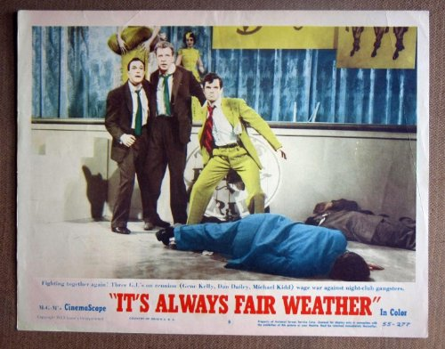 DL20 It's Always Fair Weather GENE KELLY '55 Lobby Card. This is an original lobby card; not a dvd or video. Lobby cards were used to advertise film playing at theater and they measure 11 by 14 inches.