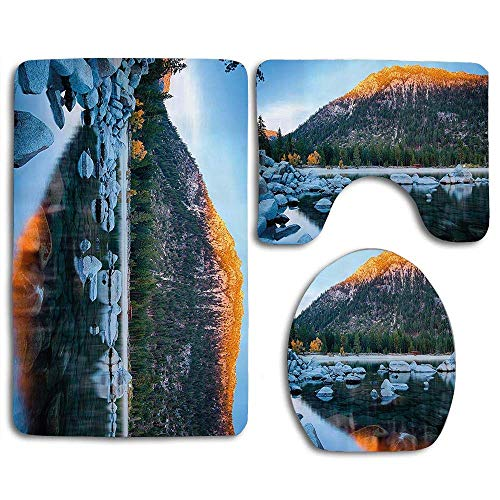 YGUII Lake Tahoe Rocks in a Lake Photo North American Landscape Sierra Nevada California USA 3pcs Set Rugs Skidproof Toilet Seat Cover Bath Mat Lid Cover Cushions Pads