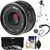 Opteka 35mm f/1.7 HD MF Prime Lens with 3 UV/CPL/ND8 Filters + Tripod Kit for Sony Alpha E-Mount Digital Cameras