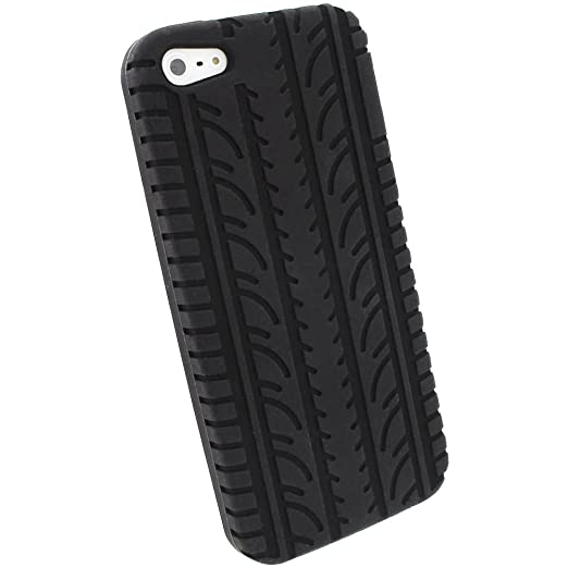 74 opinioni per igadgitz U1924 Pneumatico Custodia Silicone Cover per Apple iPhone 5 & 5S- Nero