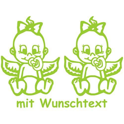 Babyaufkleber Autoaufkleber für Zwillinge mit Wunschtext - Motiv Z26-MM (16 cm) MY-BABY-SHOP
