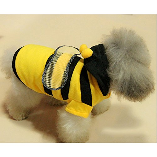 Bumblebee Dog Costume (WORDERFUL Dog Bee Costume Pet Cute Coat Puppy Clothes Cat Bumblebee Apperal with Hoodies for Small and Medium Dog)