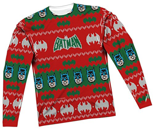 Ugly Christmas Sweater -- Batman All-Over Long-Sleeve T-Shirt, Medium -
