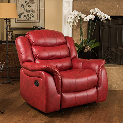 Great Deal Furniture Merit Contemporary Red Glider Recliner ()