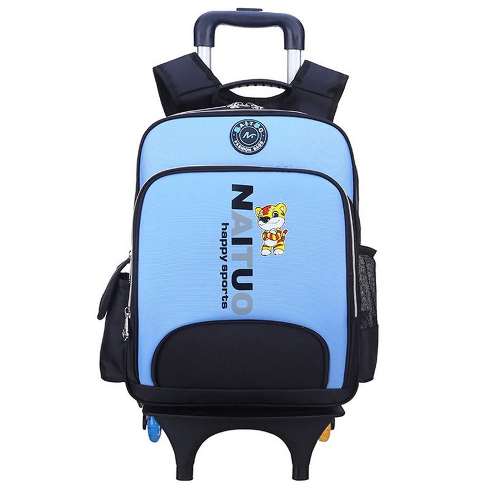 89c85502ff BYGenMai Zaini Scuola Trolley Zaino Zaino Zaino per Bambini con Ruote a Sei  Ruote per Borsa da Arrampicata Impermeabile,D 8f68b0