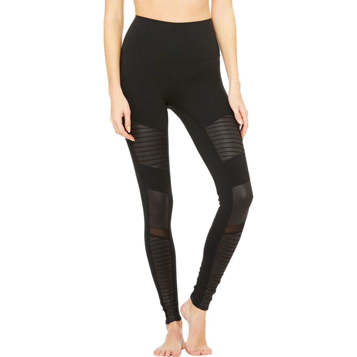 Black Black Glossy Alo Yoga Women's High Waist Moto Legging