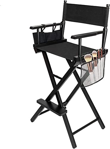 mefeir 31 Height Tall Director Chair Folding Artist Makeup with Replacement Cover, Storage Side Bags, Portable Footrest, Support 250 lbs,Solid Hardwood Polyester Black