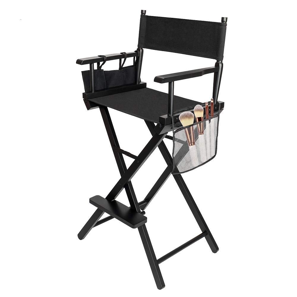 mefeir Upgraded 31 Height Tall Director Chair Folding Artist Makeup with Replacement Cover, Storage Side Bags, Portable Footrest, Support 250 lbs,Solid Hardwood Polyester Black